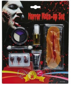 Schminke Set Zombie 8teilig MakeUP Halloween Fasching Blut Latex Wunde Horror Hexe